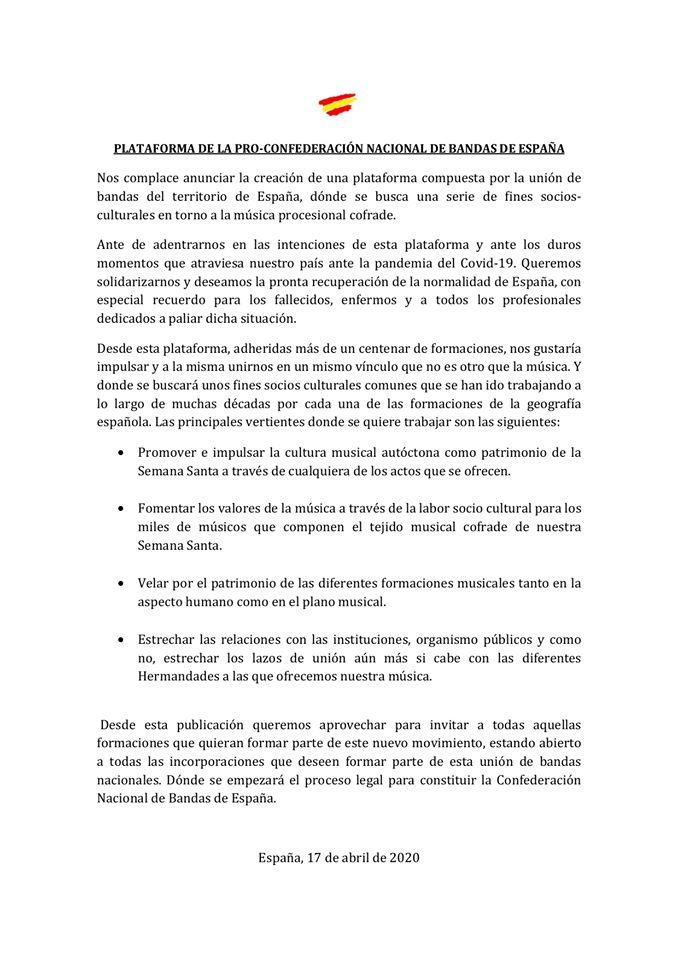 Comunicado unión de bandas de España