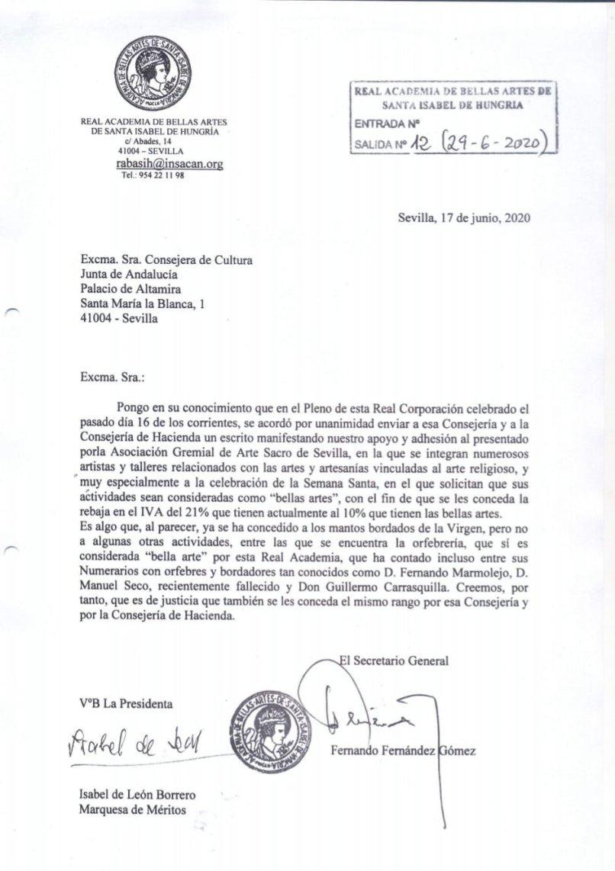 Carta Academia de Bellas Artes
