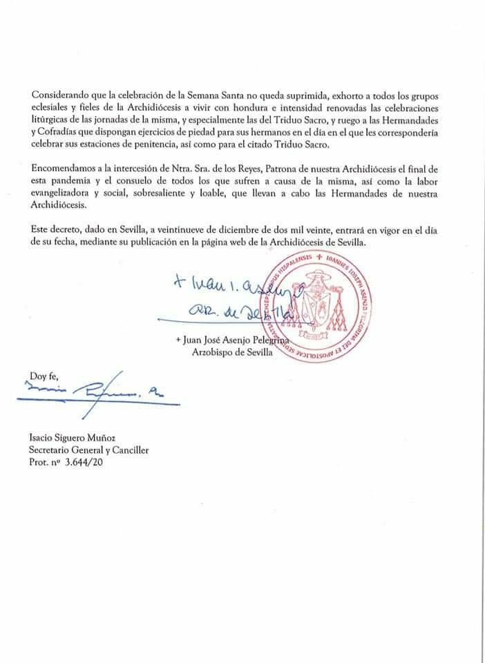 Decreto de la suspensión de las procesiones de Semana Santa 2021