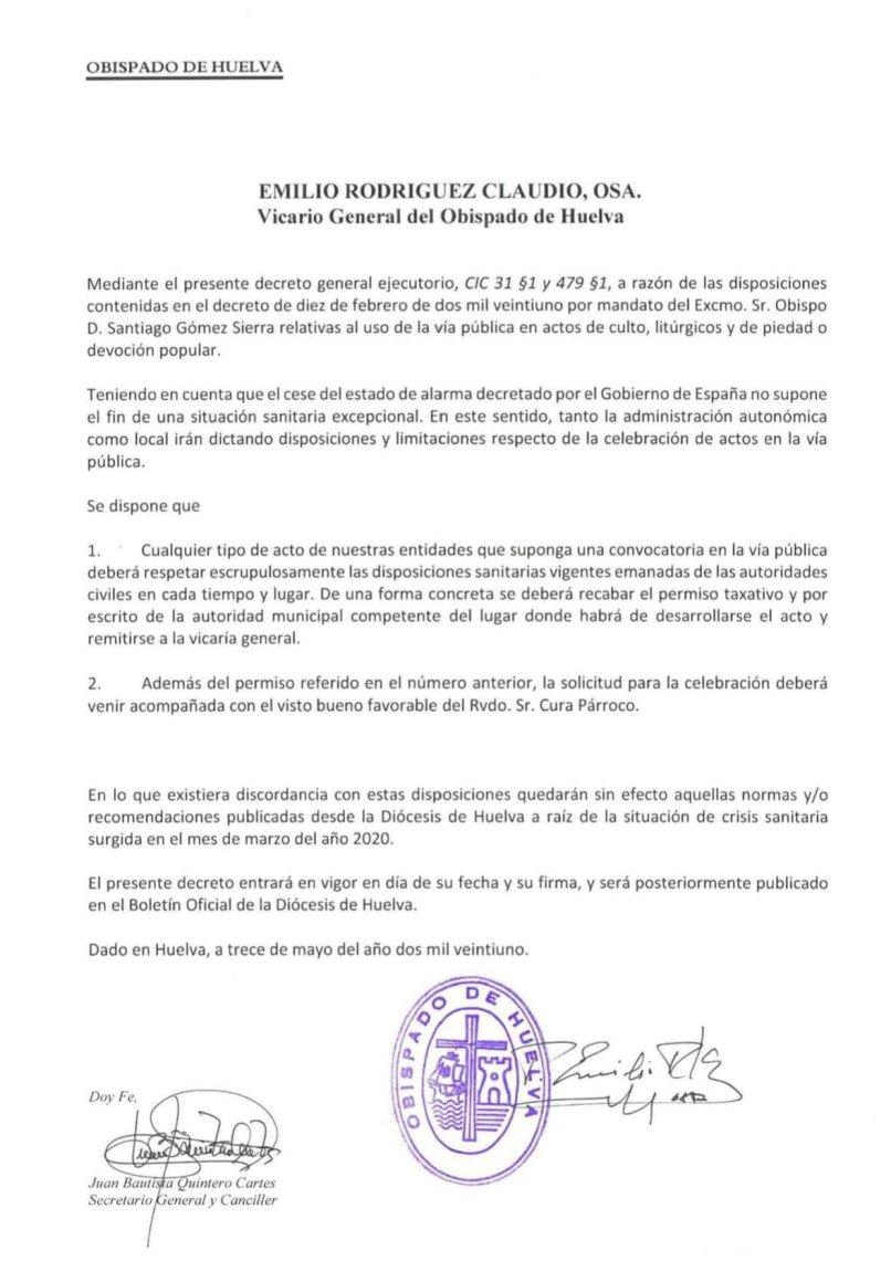 Decreto del regreso de los cultos y actos en Huelva