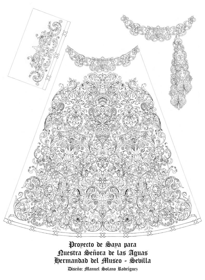 Diseño de la saya de la Virgen de las Aguas del Museo