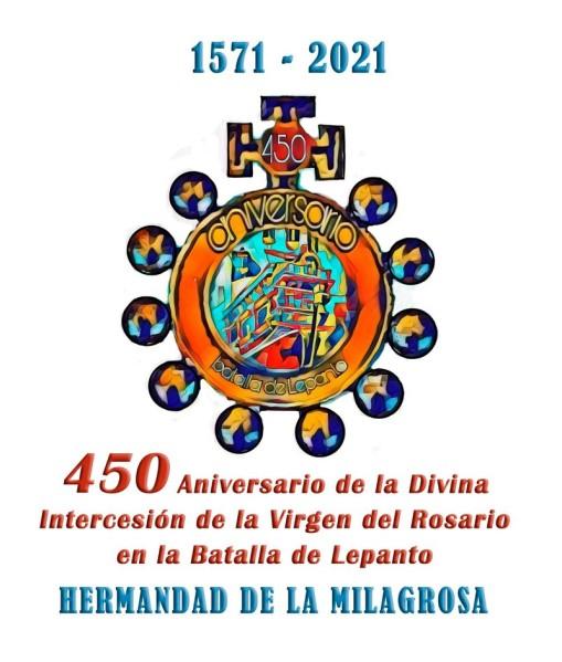 Cartel y logo conmemorativo del 450 aniversario de la Milagrosa