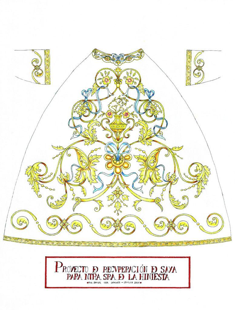 Diseño de la saya de salida de la Virgen de la Hiniesta