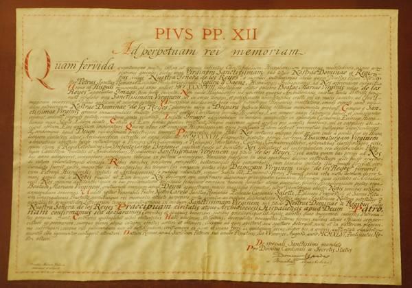 Bula papal de Pío XII del patronazgo de la Virgen de los Reyes