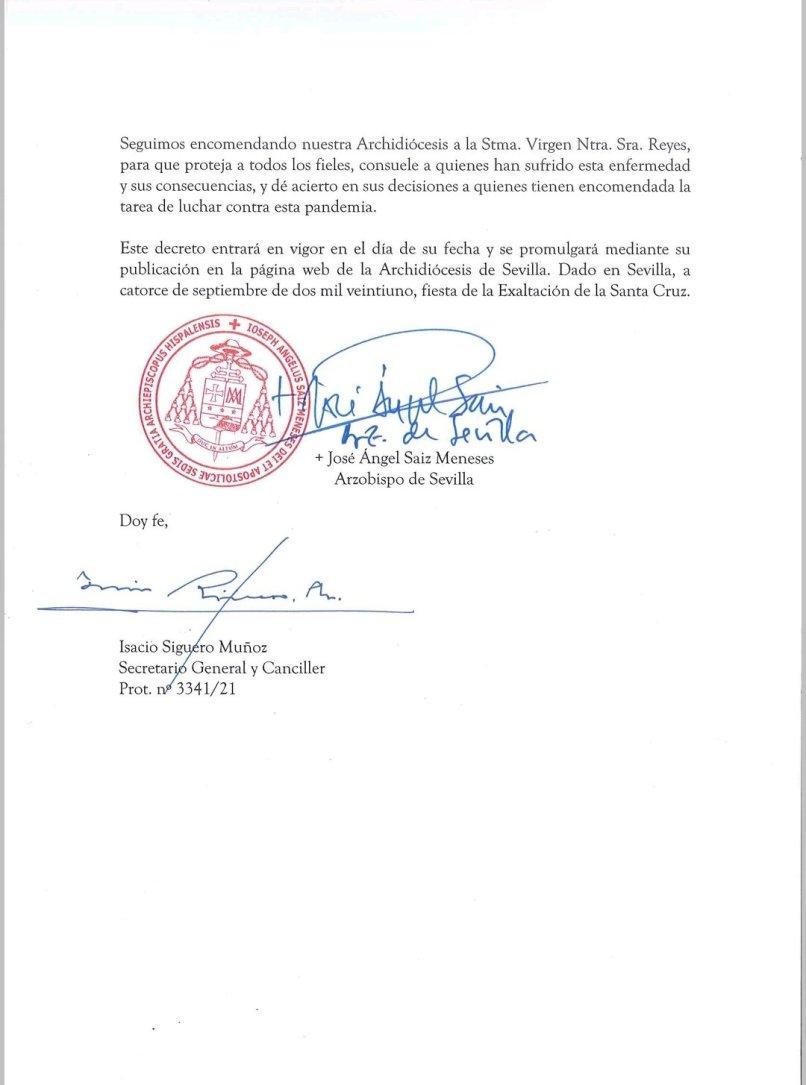 Decreto de Saiz Meneses para el regreso al culto externo